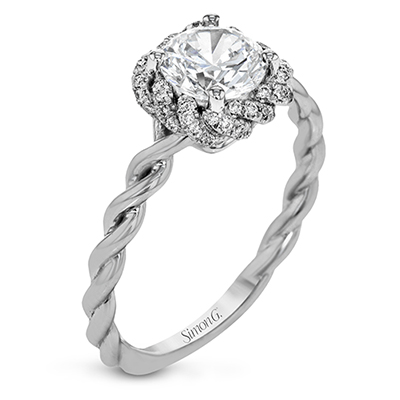 Twisted Square Halo Engagement Ring