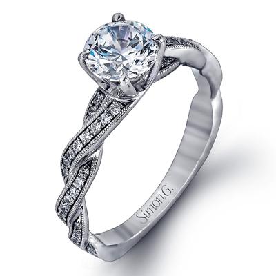 Vintage Interwoven Milgrain Accent Engagement Ring
